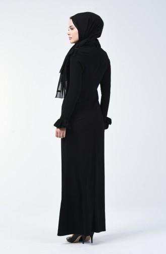 Robe de Soirée İmprimée Pierre 5256-03 Noir 5256-03