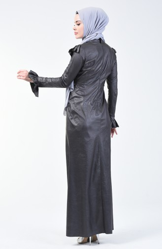 Taş Baskılı Abiye Elbise 5256A-01 Antrasit