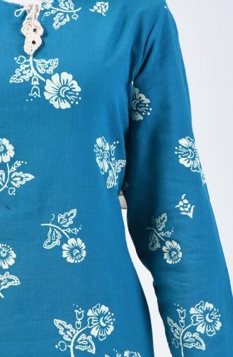 Desenli Şile Bezi Elbise 0450-10 Petrol