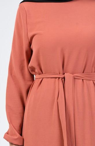 Kolu Lastikli Kuşaklı Elbise 0048-08 Soğan Kabuğu