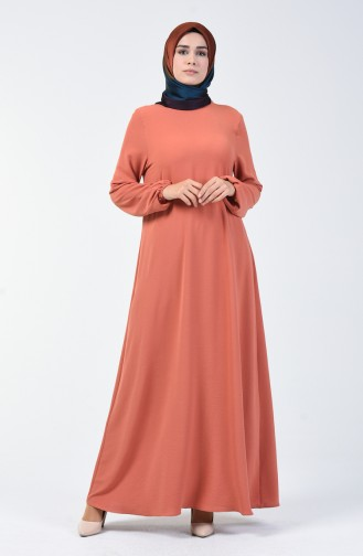 Aerobin Kumaş Kolu Lastikli Elbise 0061-08 Soğan Kabuğu