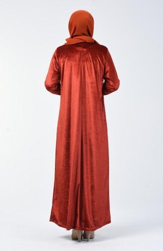 Büyük Beden Kadife Elbise 4868-01 Kiremit