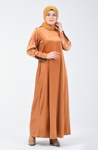 Robe Velours Grande Taille 4868-02 Moutarde 4868-02