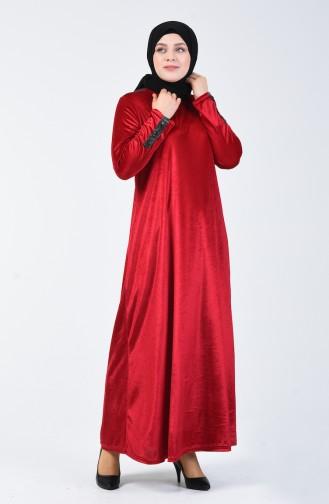 Robe Velours Grande Taille 4868-06 Bordeaux 4868-06