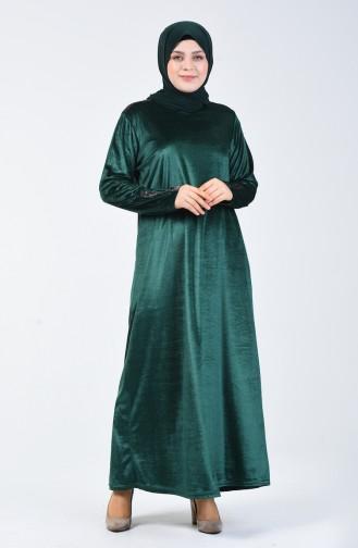Büyük Beden Kadife Elbise 4868-07 Zümrüt Yeşili