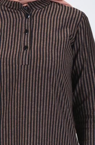 Çizgili Kışlık Tunik 5423-03 Kahverengi