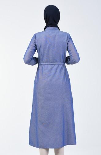 Longue Tunique a Boutons 1164-18 Bleu Jean 1164-18