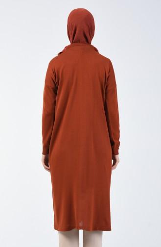 Simli V Desen Uzun Tunik 4167-07 Taba