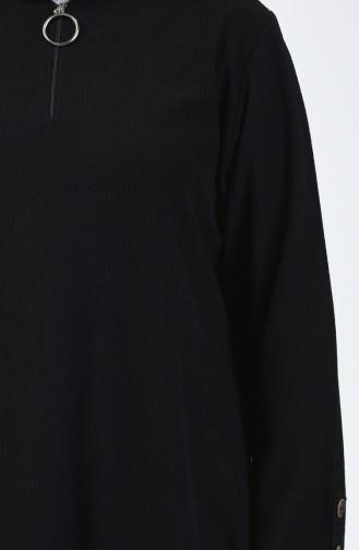 Büyük Beden Kadife Tunik Pantolon İkili Takım 2666-01 Siyah