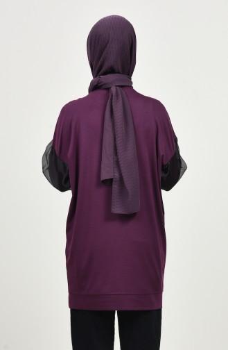 Organza Sleeve Detailed Sweatshir Purple 8088-08