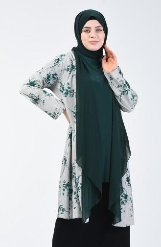 Büyük Beden Bluz Ceket İkili Takım 7866-02 Zümrüt Yeşili