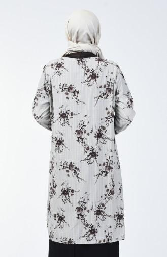 Büyük Beden Bluz Ceket İkili Takım 7866-03 Kahverengi