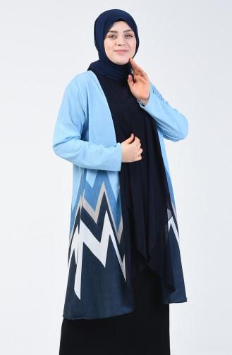 Büyük Beden Bluz Ceket İkili Takım 7866A-03 Lacivert