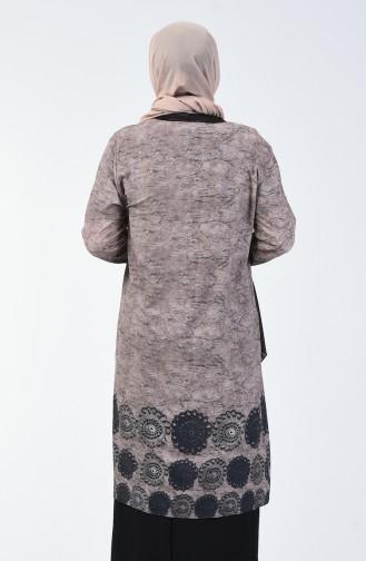 Büyük Beden Bluz Ceket İkili Takım 7866C-02 Kahverengi