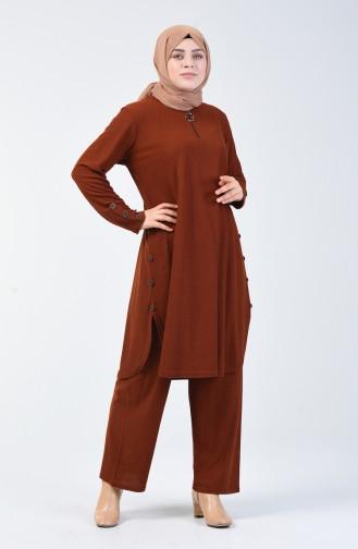 Büyük Beden Kadife Tunik Pantolon İkili Takım 2666-04 Kiremit