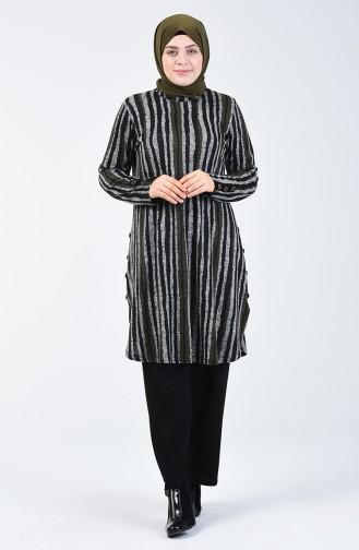 Büyük Beden Düğme Detaylı Tunik Pantolon İkili Takım 2667-03 Haki