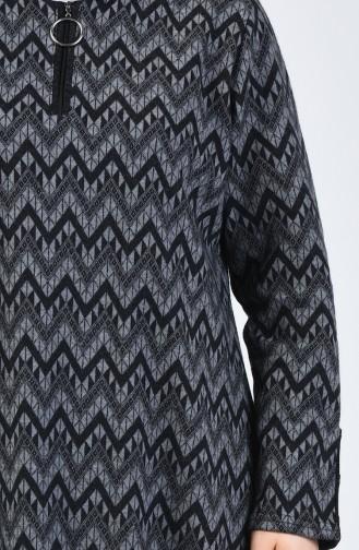 Büyük Beden Desenli Tunik Pantolon İkili Takım 2670-04 Gri