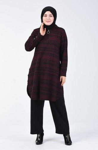 Büyük Beden Desenli Tunik Pantolon İkili Takım 2670A-02 Mürdüm