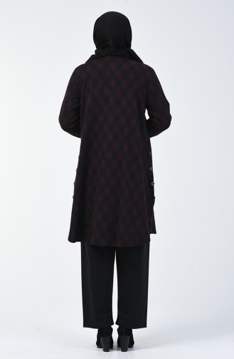 Büyük Beden Desenli Tunik Pantolon İkili Takım 2670B-01 Mürdüm