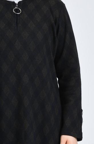 Büyük Beden Desenli Tunik Pantolon İkili Takım 2670B-04 Haki