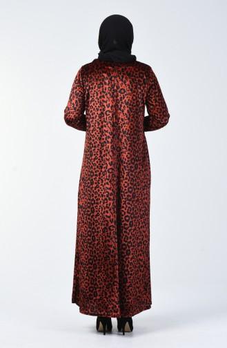 Büyük Beden Leopar Desenli Kadife Elbise 4867-02 Kiremit
