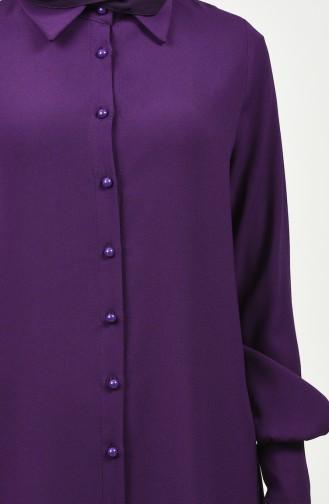 Gömlek Yaka Düğmeli Tunik 8145-01 Mor