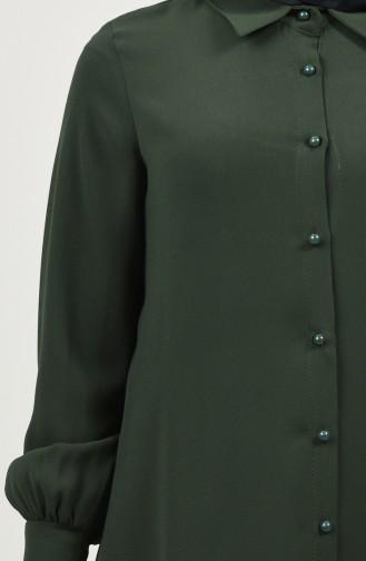 Gömlek Yaka Düğmeli Tunik 8145-04 Haki