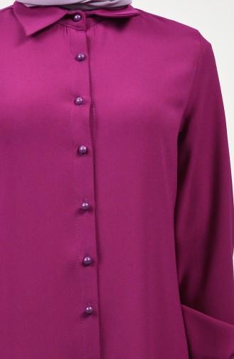 Gömlek Yaka Düğmeli Tunik 8145-05 Fuşya
