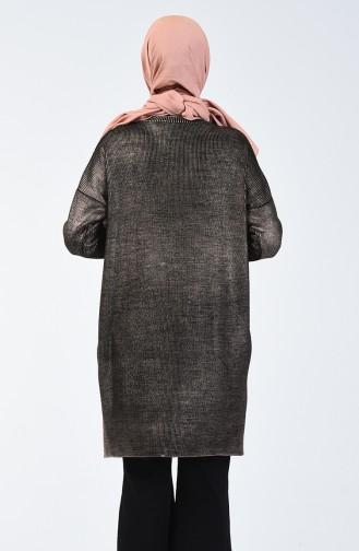 Triko Varaklı Kazak 4952-01 Siyah Bakır