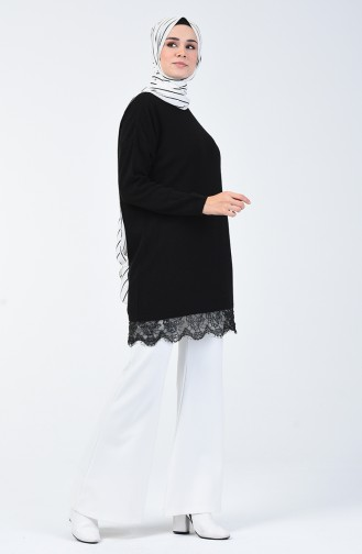 Triko Dantelli Kazak 4961-01 Siyah