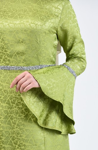 Spanish Sleeve Strass Evening Dress Pistachio Green 60088-01