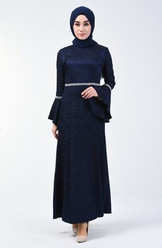 İspanyol Kol Taşlı Abiye Elbise 60088-02 Lacivert 60088-02