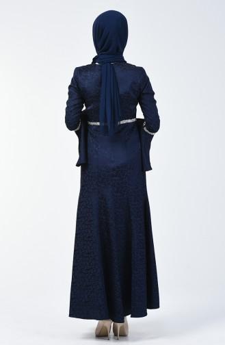 Spanischer Arm Steiniger Abendkleid 60088-02 Dunkelblau 60088-02