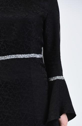 Robe Manche Volantes İmprimée Pierre 60088-03 Noir 60088-03