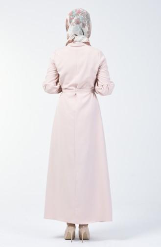 Düğmeli Kuşaklı Elbise 2699-11 Bej