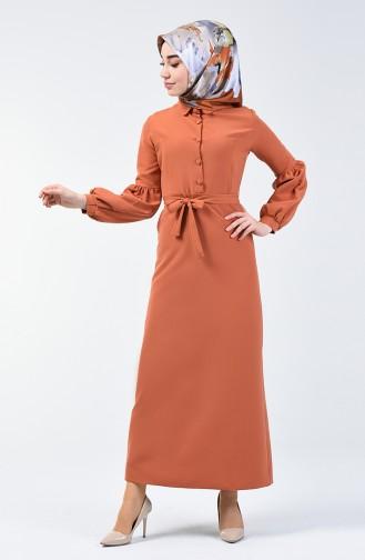 Düğmeli Kuşaklı Elbise 2699-15 Turuncu