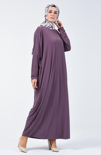 Sandy Yarasa Kol Elbise 8813-09 Koyu Lila