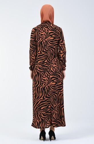 Patterned Dress Brown Tobacco Black 8859-01