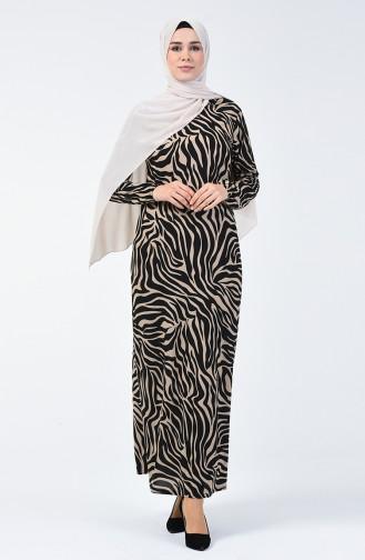 Robe à Motifs 8859-02 Beige Noir 8859-02