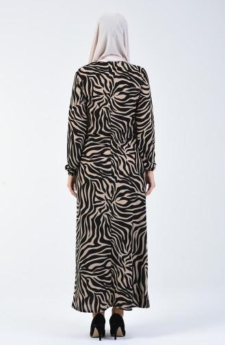 فستان منقوش بيج وأسود 8859-02
