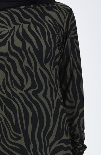 Desenli Elbise 8859-03 Haki Siyah