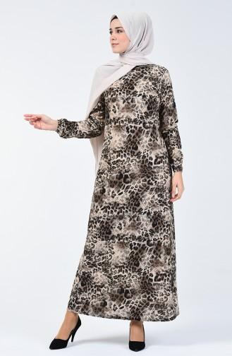 Leopard Gemustertes Kleid 8861-01 Nerz 8861-01