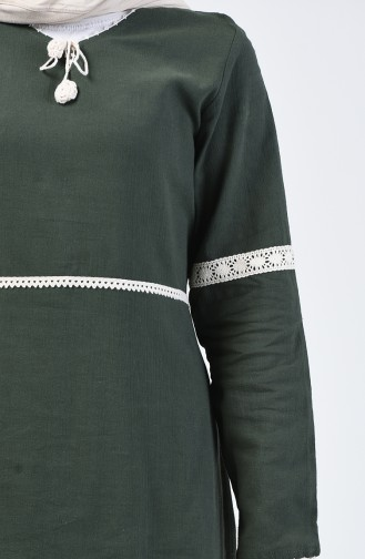 Şile Bezi Dantelli Elbise 0039-03 Haki Yeşil