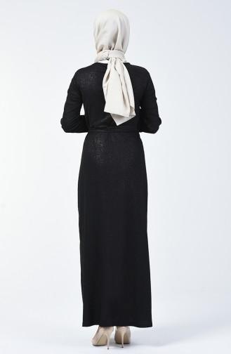 Silbernes Kleid mit Band 4205-01 Schwarz 4205-01