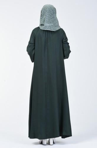 Kolu Ve Yakası Büzgülü Elbise 3138-02 Zümrüt Yeşili