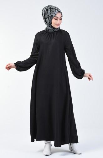 Kolu Ve Yakası Büzgülü Elbise 3138-04 Siyah