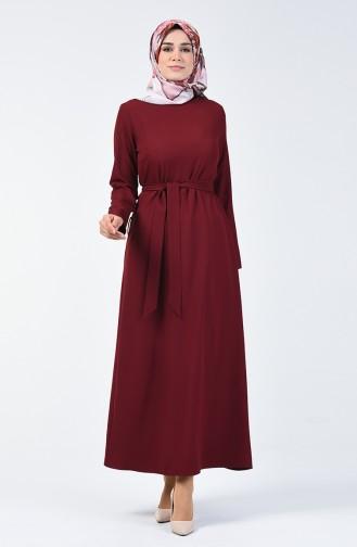 Kuşaklı Düz Elbise 60087-01 Bordo