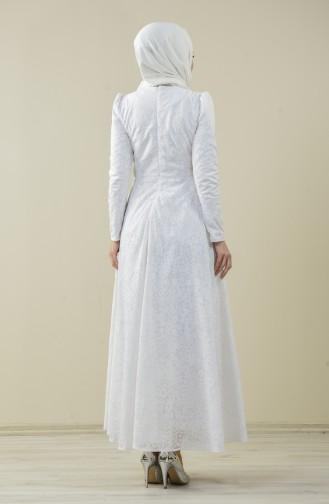 Astarlı Kloş Abiye Elbise 7256-02 Beyaz