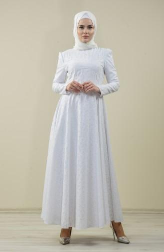 Astarlı Kloş Abiye Elbise 7257-02 Beyaz