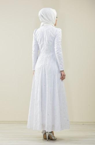 White Islamic Clothing Evening Dress 7258-02